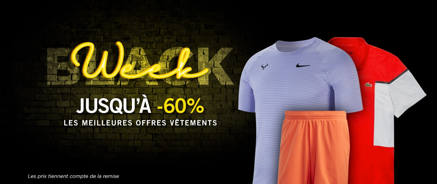 -60 % vêtements homme - Black week Tennis Achat