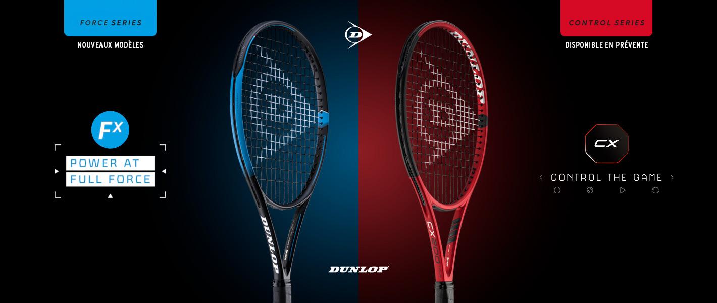 Nouveaux modèles de raquettes de tennis Dunlop FX et Dunlop CX