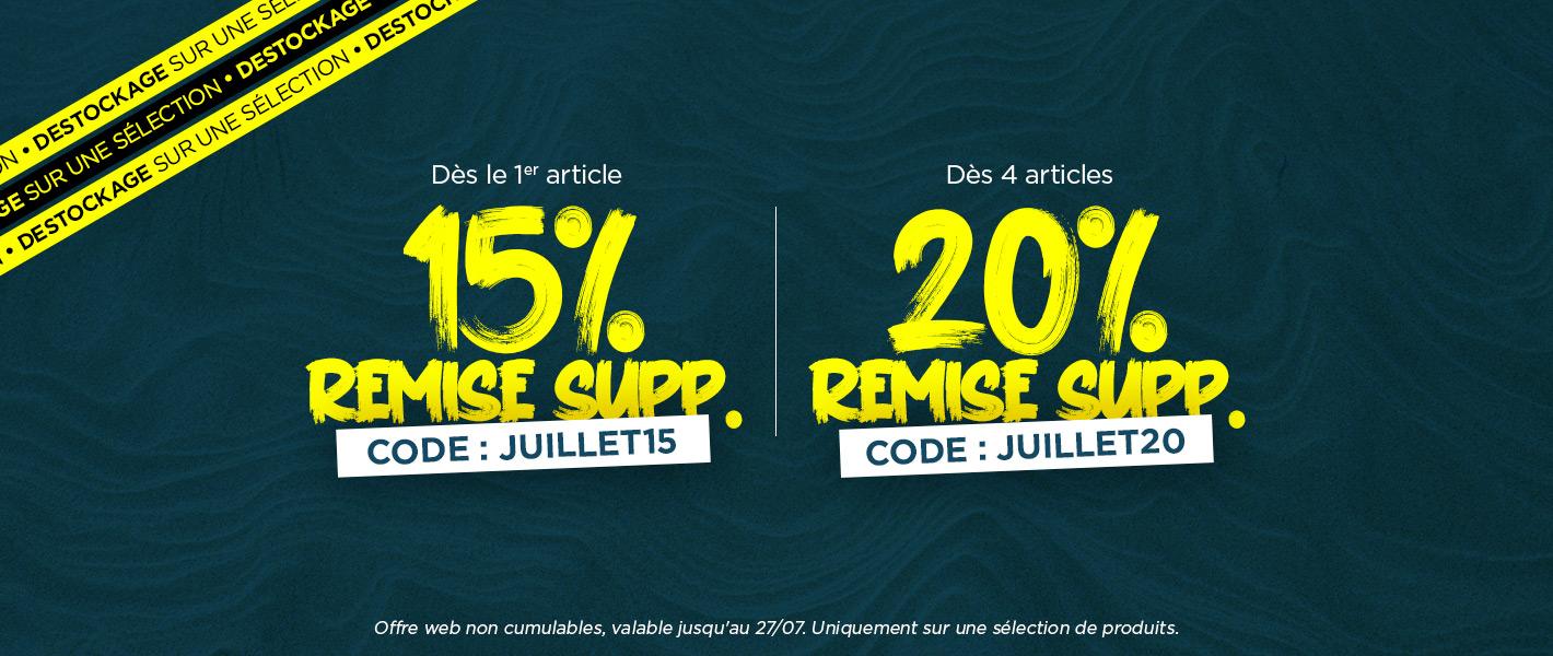 15% de remise supp avec le code JUILLET15