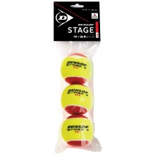 Sachet De 3 Balles Dunlop Mini Tennis Stage 3 Rouge