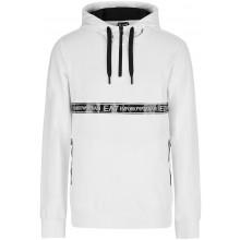 Sweat à Capuche EA7 Training Sporty Logo Series 1/2 Zip Blanc