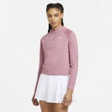 Tee-Shirt Nike Femme à Manches Longues 1/2 Zip Rose