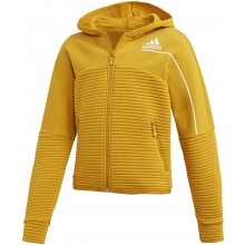 Sweat Adidas Junior Fille à Capuche Zippé Jaune