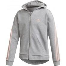 Sweat à Capuche Adidas Junior Fille 3 Stripes Zippé Gris