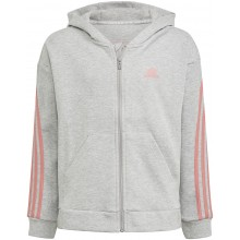 Sweat à capuche adidas Junior Fille 3 Stripes Zippé Gris
