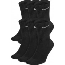 6 Paires de Chaussettes Nike Cushion Everyday Mi-Hautes Noires