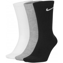 3 Paires de Chaussettes Nike Everyday Lightweight Blanches/Grises/Noires