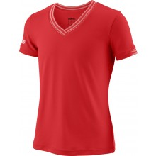 Tee-Shirt Wilson Junior Fille Col V Team Striped Rouge